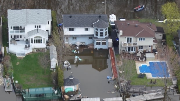 Flood waters surround homes on Hurtubise Boulevard in Gatineau in May.