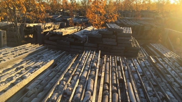 A collection of core samples at the former Pine Point mine near Hay River, N.W.T.