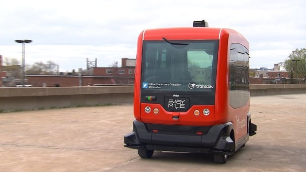 The Transdev Easymile driverless bus is one of two being tested at the Olympic Park.