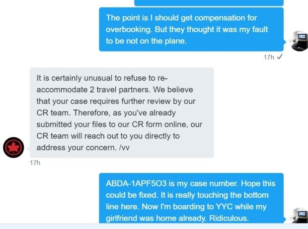 Screengrab of Air Canada Twitter chat