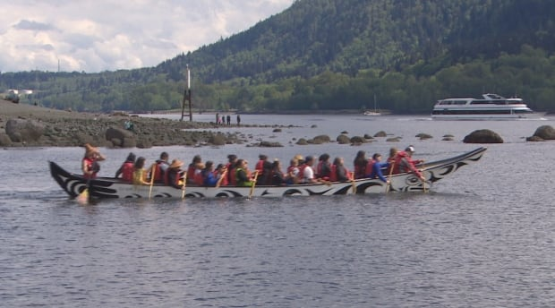 Tsleil-Waututh Nation Water Ceremony paddlers in boat