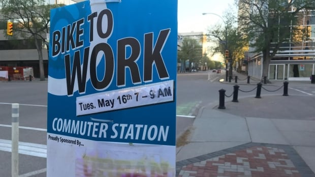One of the many commuter stations set up this week for Bike To Work YXE.