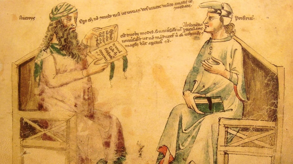 "Imaginary debate between Averroes And Porphyry. Monfredo de Monte Imperiali ""Liber de herbis"", 14th century. Reproduction in ""Inventions et decouvertes au Moyen-Age"", Samuel Sadaune"