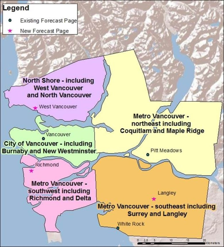 Map Of Canada Showing Vancouver.Environment Canada Gives Metro Vancouver 5 Sub Regional Weather