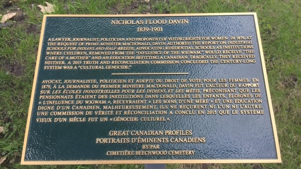 Plaque For Nicholas Flood Davin At The Beechwood Cemetery In Ottawa Includes His Role Creation Of Residential Schools Cindy Blackstock