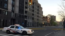 Road closure after glass falls from Four Seasons