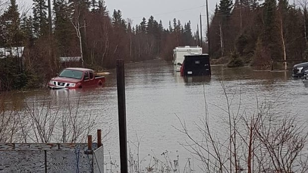 Vehicles and trailers seen partially submerged in water on Mud Lake Road in Happy Valley-Goose Bay.