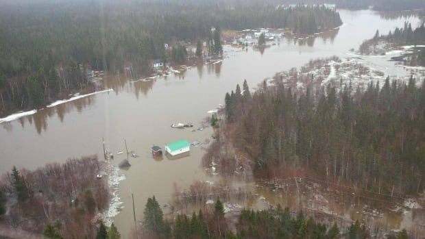 An aerial photo shows flooding in one area of Mud Lake near Happy Valley-Goose Bay on May 17.