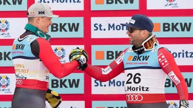 World champion Erik Guay, left, and bronze medallist Manny Osborne-Paradis, right, will headline Canada's alpine ski team for the 2017-18 season. Three months ago, Guay and Osborne-Paradis won wrold gold and bronze medals, respectively.
