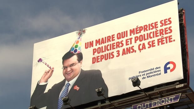 Denis Coderre police protest billboard 375th anniversary