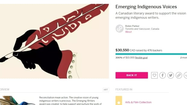 An online campaign to raise funds for an Emerging Indigenous Voices award has far surpassed its initial $10,000 goal, just days after launching.