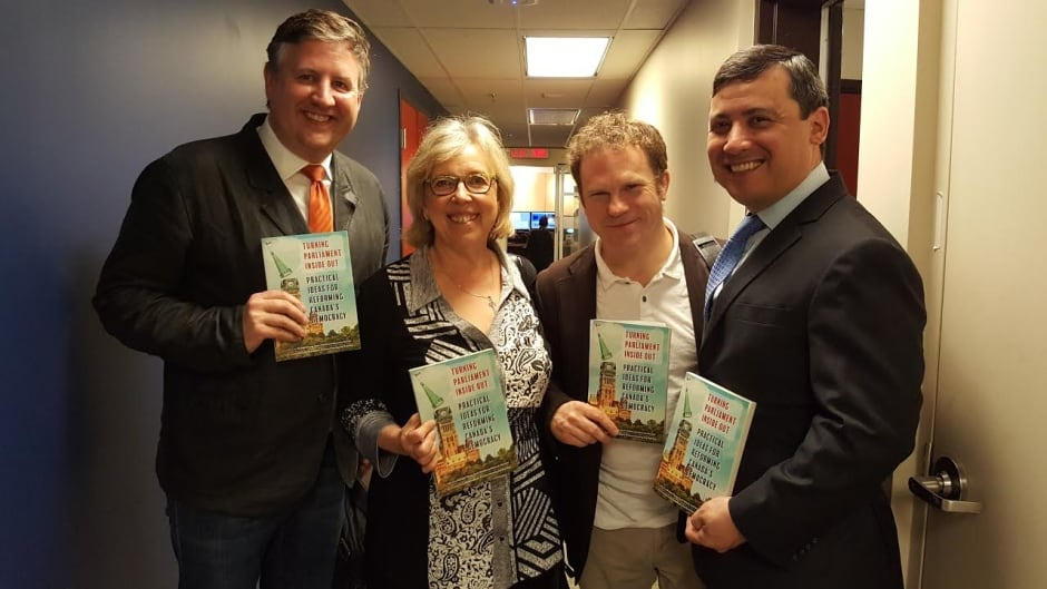 From left to right: Kennedy Stewart, Elizabeth May, Scott Simms, Michael Chong share their 'collaborative roadmap for Canadian parliamentary reform' in the book, 
