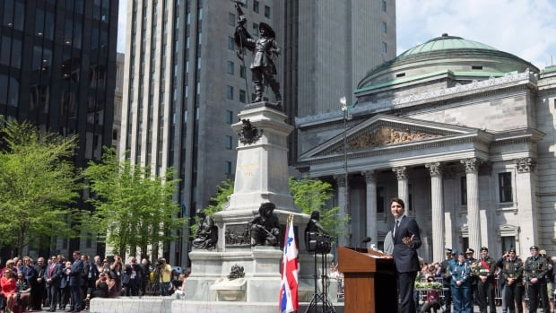 Prime Minister Justin Trudeau addresses a ceremony marking the 375th anniversary of the founding of Montreal.