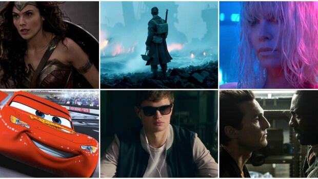 From top left: Wonder Woman, Dunkirk, Atomic Blonde, Cars 3, Baby Driver, The Dark Tower.