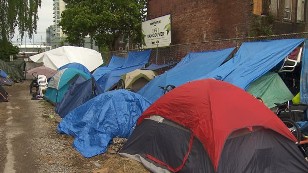 Vancouver homeless people and advocates erected a tent city at 950 Main Street on April 28, 2017.