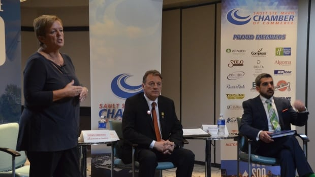 Liberal Debbie Amaroso, the NDP's Joe Krmpotich and Progressive Conservative Ross Romano face off in a breakfast debate hosted by the Sault Ste. Marie Chamber of Commerce.