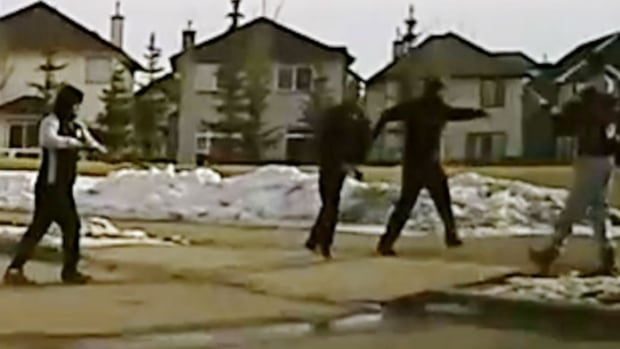 Police released this image of two groups of men who began shooting at each other around 5:40 p.m. on March 17, 2017 at the intersection of Saddlecrest Park and Saddlecrest Boulevard N.E.