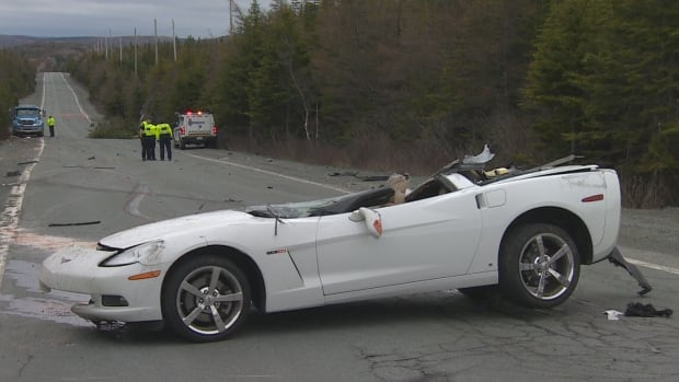 Police confirmed Thursday that the man ejected from a Corvette that rolled over on Blackhead Road Wednesday was not wearing a seatbelt.