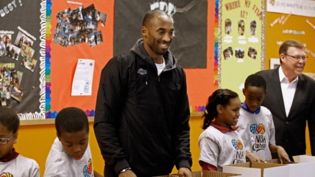 Kobe Bryant, pictured here at an earlier event, came through with an assist for some high school students in Indiana by getting them out of a final exam after he retweeted one of them.
