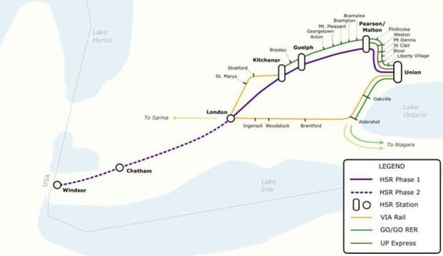 Proposed map for high-speed rail in southern Ontario