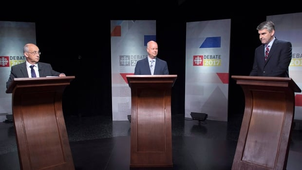 NDP Leader Gary Burrill, Progressive Conservative Leader Jamie Baillie, and Liberal Leader Stephen McNeil, left to right, wait for the start of the leaders' debate in Halifax on Thursday, May 18, 2017. The provincial election will be held Tuesday, May 30.