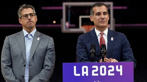For Los Angeles mayor Eric Garcetti, right, and LA 2024 chairman Casey Wasserman, left, it is becoming more likely that their city will get either the 2024 or 2028 Summer Olympics, with Paris receiving the other games.