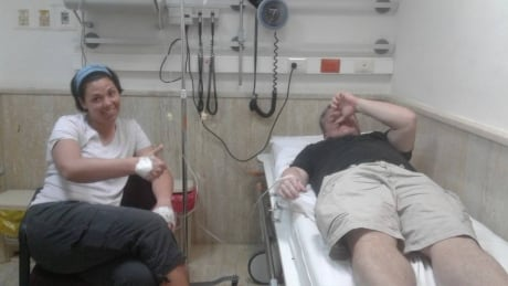 Robin Corkum and Troy Bezanson in hospital