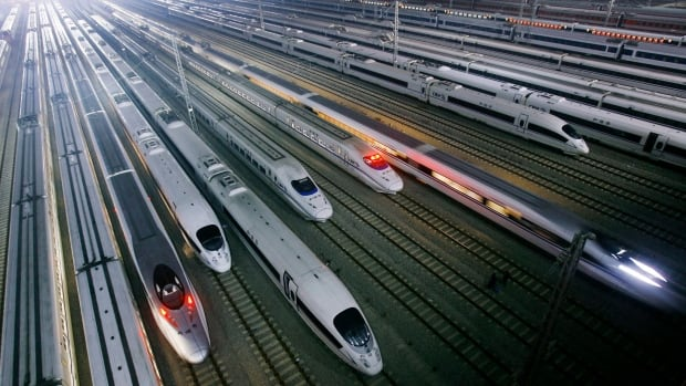 China's CRH high-speed trains sit on tracks at a maintenance base in Wuhan, in central China's Hubei province. Advocates say North Americans can't envision high-speed rail in their own communities unless they've travelled somewhere in Europe or Asia and have seen it for themselves.
