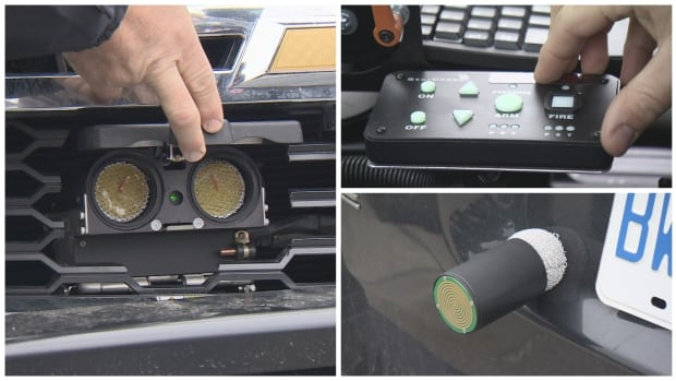 Ontario police have unveiled a new GPS projectile launching system that will be used to track drivers who refuse to pull over.