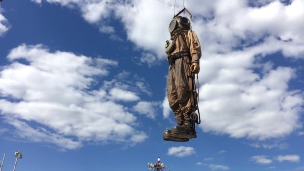 The Deep Sea Diver Giant marionette began his journey through the city starting in the Old Port Friday afternoon.