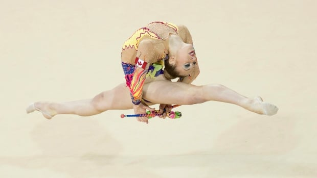 Canada's Carmen Whelan, shown in this 2015 file photo, is leading all competitors at the Canadian Rhythmic Gymnastics Championships in Edmonton.