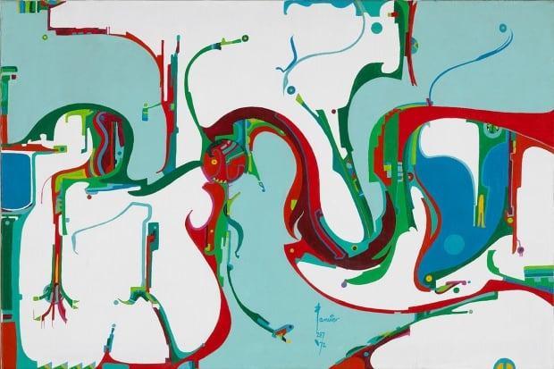 Alex Janvier, Coming of the Opposite, 1972, acrylic on canvas