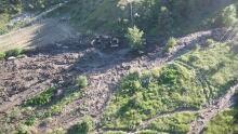 Damage to vineyards south of Oliver Tinhorn Creek debris slide