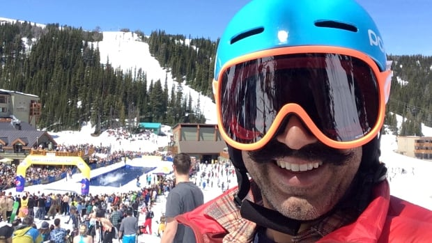 Reza Bacchus was among the thousands at Sunshine Village on Monday for the annual Slush Cup.