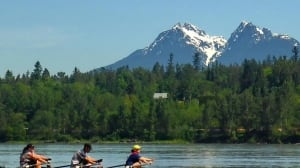 Rowers in the Fraser River, near Fort Langley