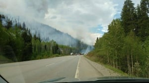 Out of control fire burning 5 km east of Tete Jaune Cache, B.C.