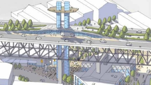 An elevator connecting the Granville Street Bridge and Granville Island is being proposed as a way to improve access to the often gridlocked island.