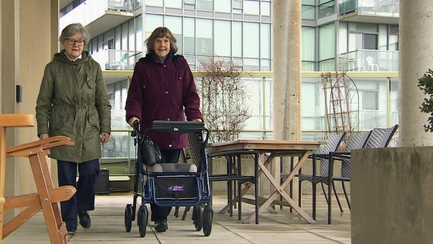 Julie Beddoes, left, and Penelope Tyndale, right, have been living in the same Distillery District condo for 17 years. They're part of a community group called 'Aging in Place,' which comes together to discuss challenges and opportunities in condo living.