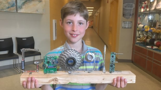Nine-year-old Wesley Babin says he got the idea for his Google sculpture by simply playing around with pieces of metal.