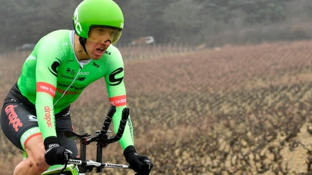 Ottawa's Michael Woods, seen earlier this year, finished ninth in Wednesday's 17th stage of the Giro d'Italia cycling race.