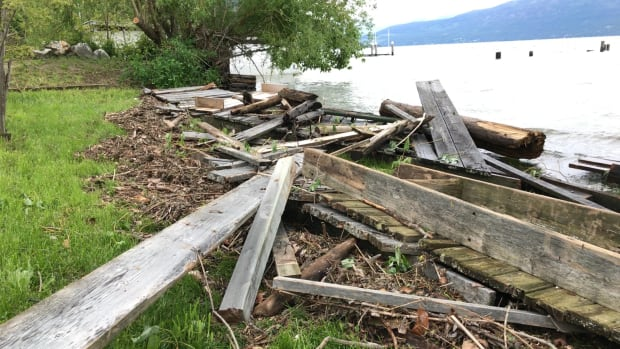 A dock at Okanagan Landing was destroyed during a large overnight windstorm on May 24, 2017.