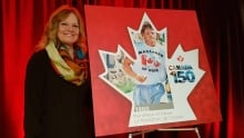 Judith Fox, sister of Terry Fox at stamp unveiling.
