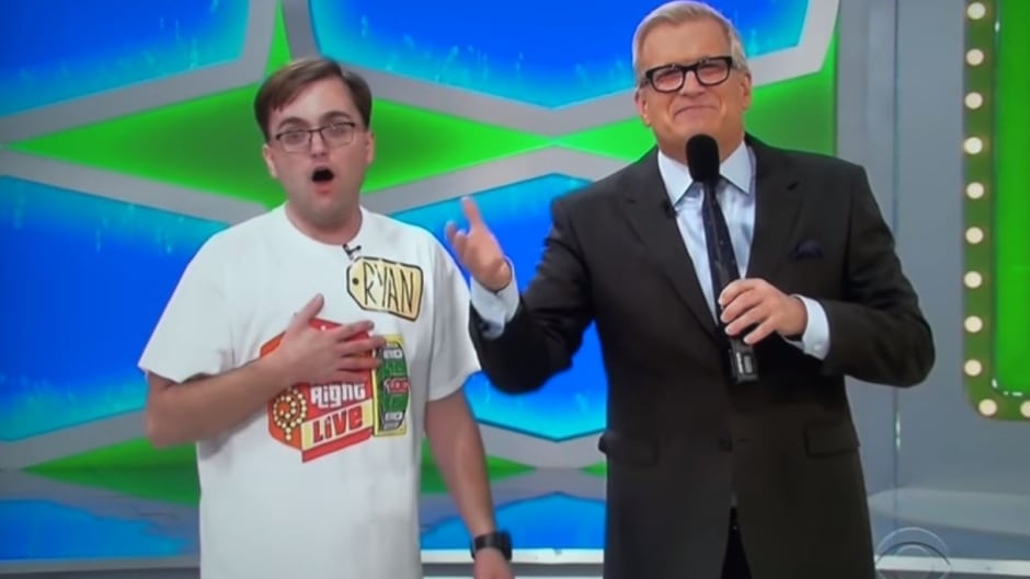 Ryan Belz is beside himself after being called onto The Price Is Right stage by host Drew Carey.