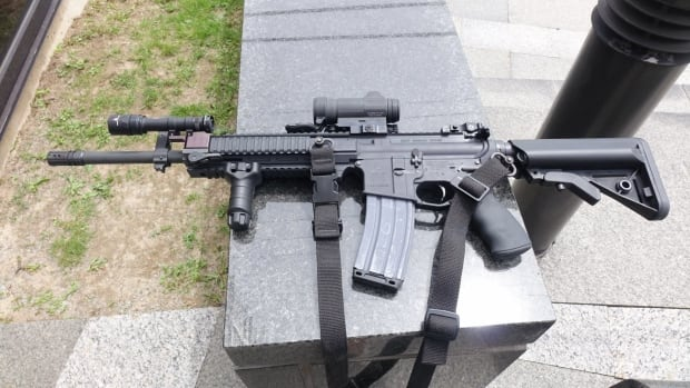 Carbine rifles, similar to the one shown here, were worn by police officers when they responded to the incident in Cornwall Thursday.