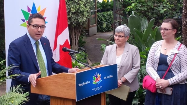 MP Don Rusnak announces FedNor funding for three Thunder Bay organizations at the city's botanical conservatory on Friday, May 26, while city councillors Rebecca Johnson and Shelby Ch'ng listen.