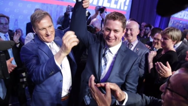 Maxime Bernier, left, congratulates Andrew Scheer for winning the Conservative leadership. Scheer overtook Bernier on the 13th and final round of balloting Saturday.