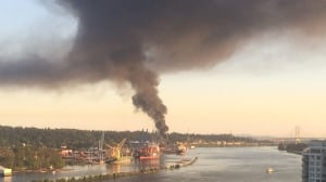 Plume of black smoke seen across Metro Vancouver from Delta structure fire