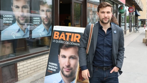 Gabriel Nadeau-Dubois at his campaign office in the riding of Gouin.
