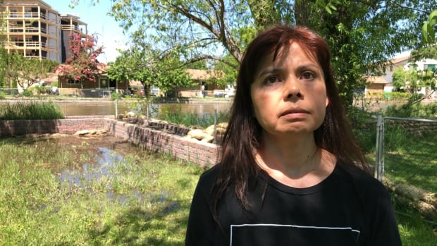 Kelowna resident Maria Zebeda stands in her flooded backyard on the banks of Mission Creek.