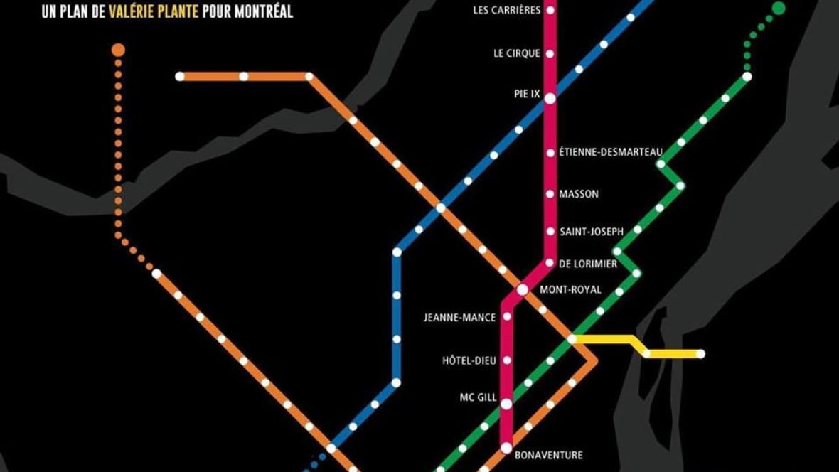 projet montr al wants to add 39 pink line 39 to metro montreal cbc news. Black Bedroom Furniture Sets. Home Design Ideas